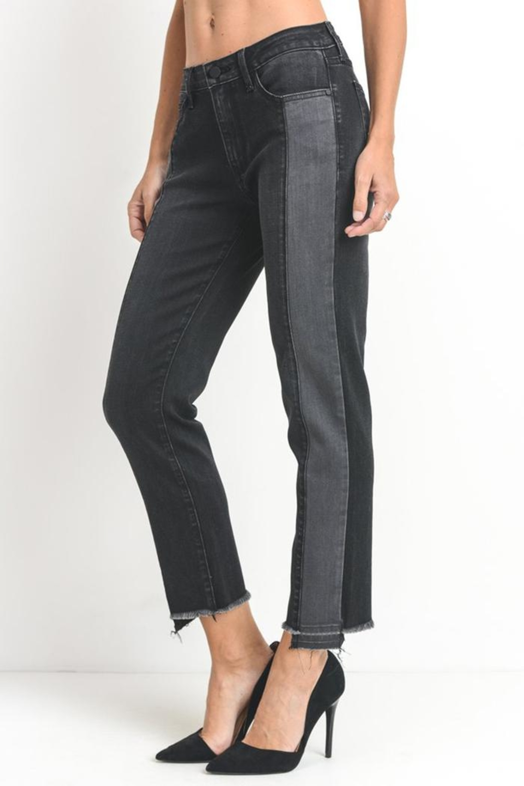 just black Two Tone Jeans - Front Full Image