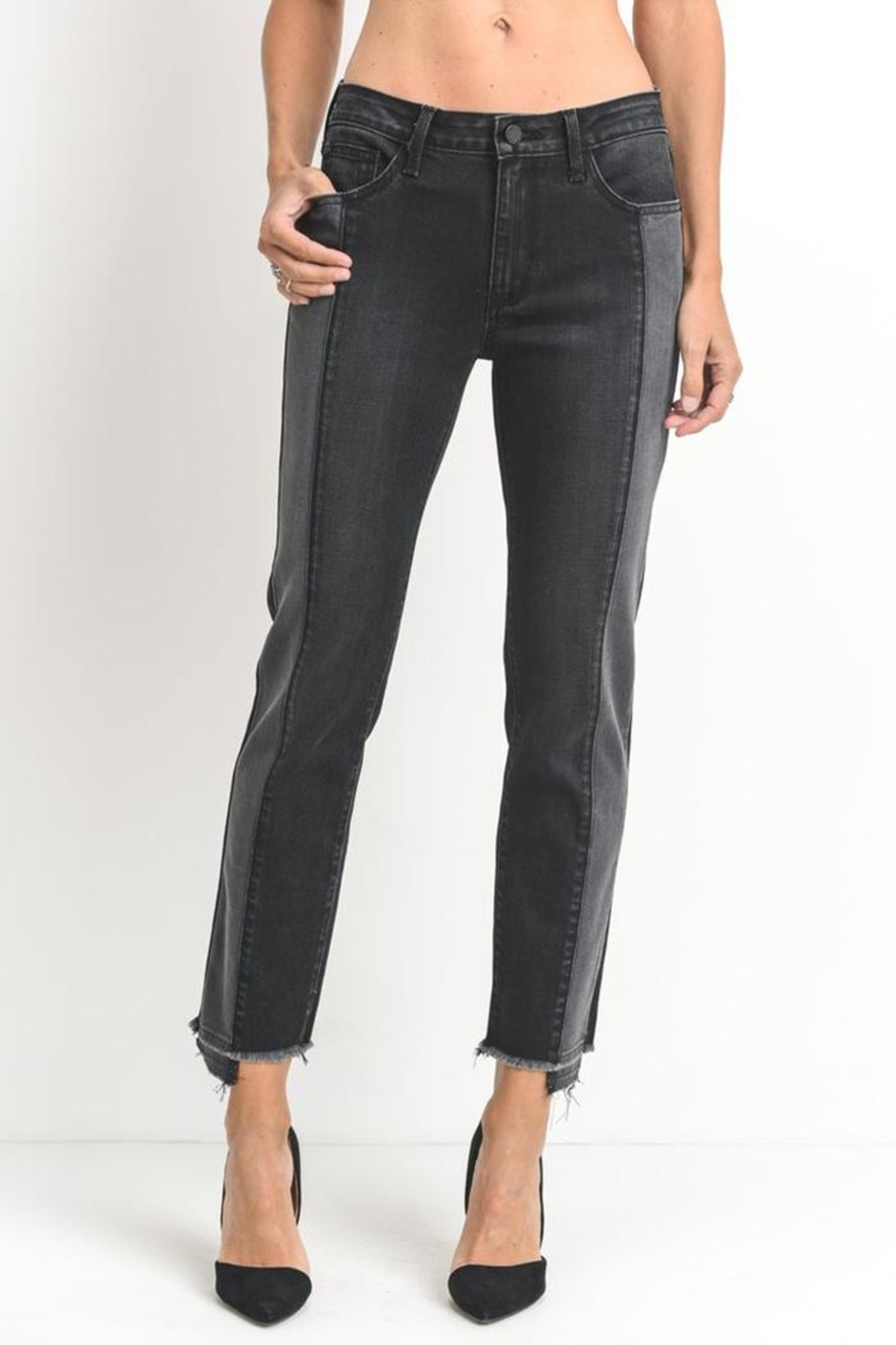 just black Two Tone Jeans - Main Image