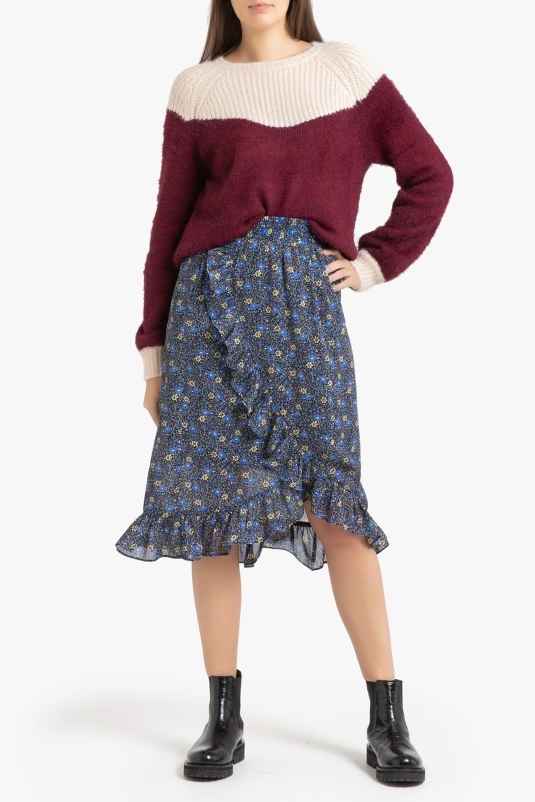 FRNCH Two-tone Nigelle Sweater - Side Cropped Image