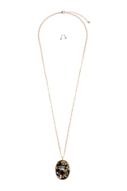 Riah Fashion Two-Tone-Oval-Pendant Necklace-Earring-Set - Front cropped