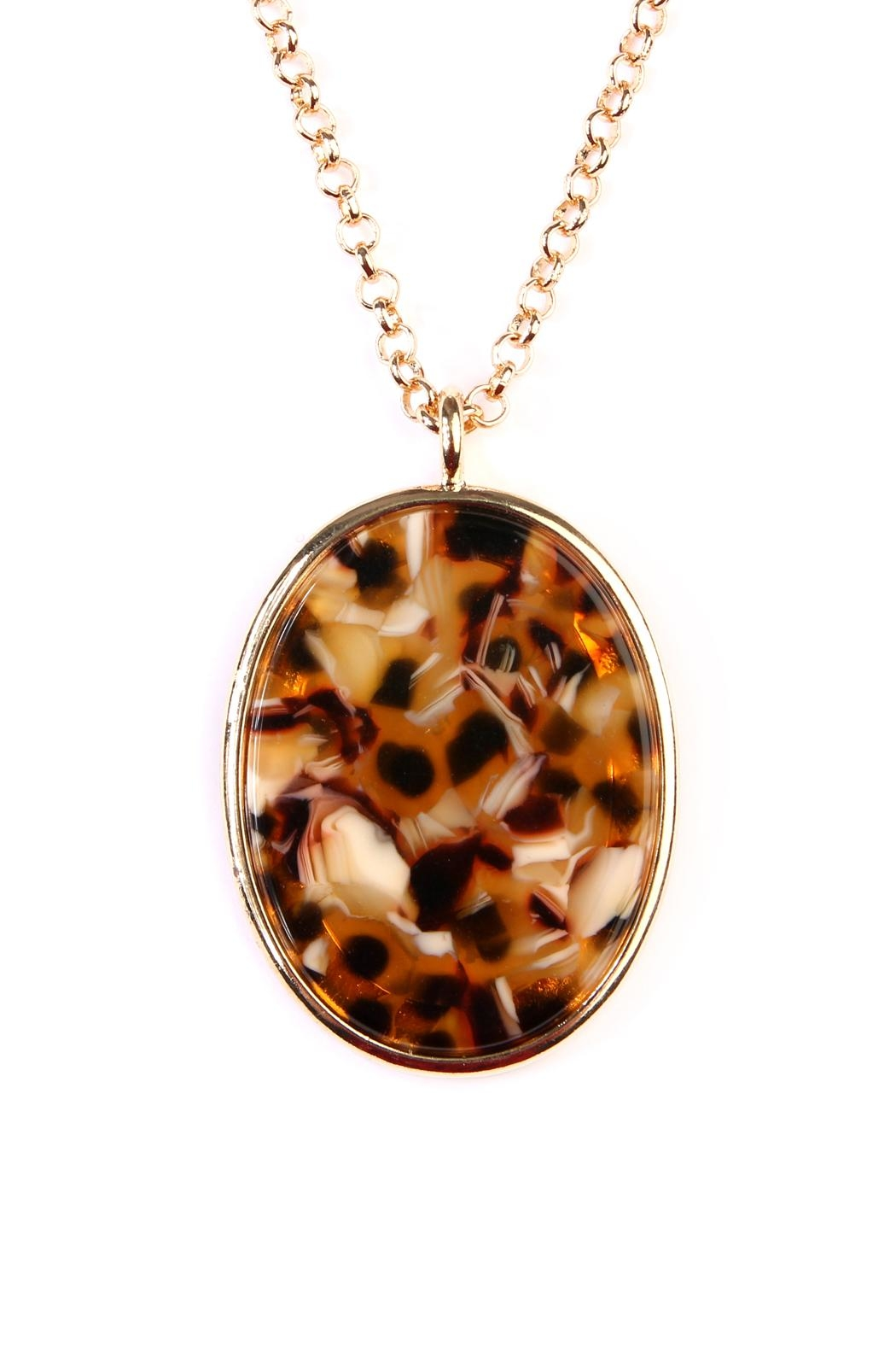 Riah Fashion Two-Tone-Oval-Pendant Necklace-Earring-Set - Front Full Image