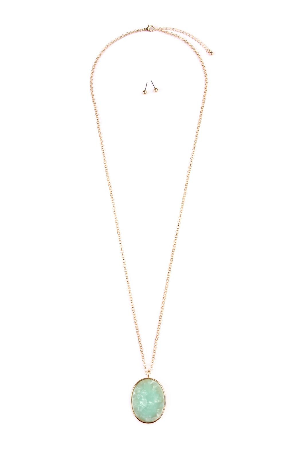 Riah Fashion Two-Tone-Oval-Pendant Necklace-Earring-Set - Front Cropped Image