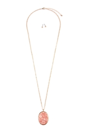 Riah Fashion Two-Tone-Oval-Pendant Necklace-Earring-Set - Product Mini Image