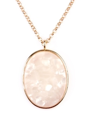 Riah Fashion Two-Tone-Oval-Pendant Necklace-Earring-Set - Front full body