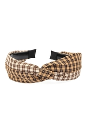 Riah Fashion Two-Tone Plaid-Knotted Fabric-Coated-Headband - Product Mini Image
