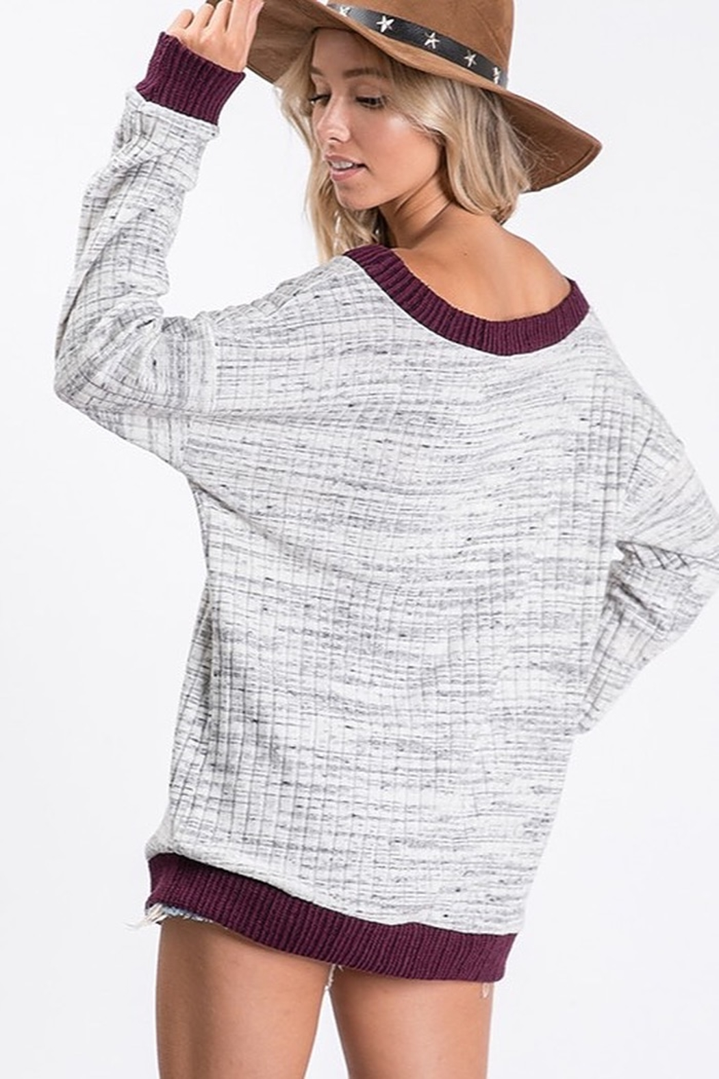 Ces Femme Two Tone Ribbed Knit Cut Out Neck Top - Side Cropped Image