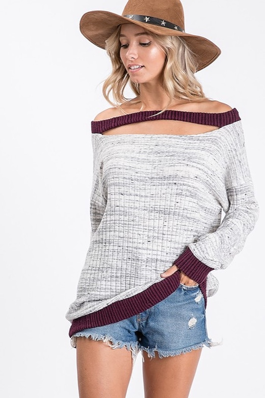 Ces Femme Two Tone Ribbed Knit Cut Out Neck Top - Main Image