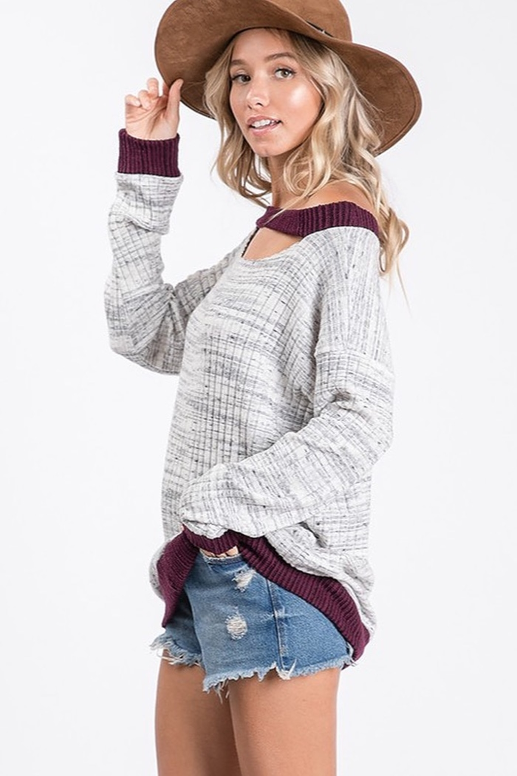 Ces Femme Two Tone Ribbed Knit Cut Out Neck Top - Front Full Image