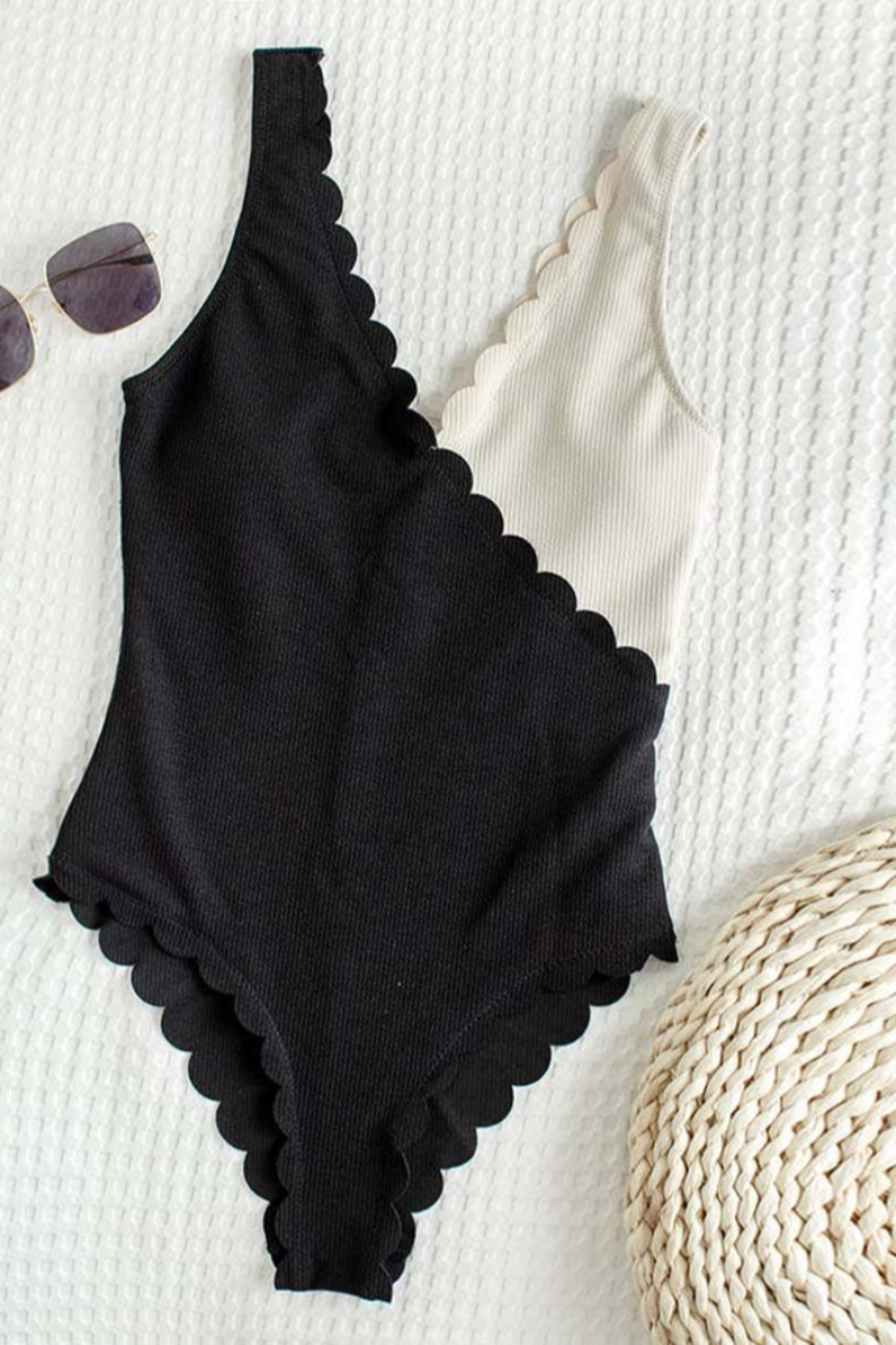 C+D+M Two Tone Scalloped Hem One-Piece Swimsuit - Front Full Image