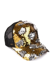 Riah Fashion Two-Tone-Sequin Baseball Cap - Product Mini Image