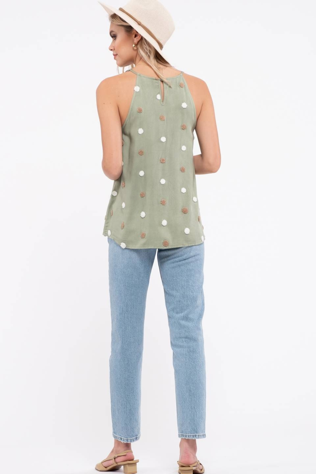 blu pepper  TWO TONE SWISS DOT TOP - Front Full Image