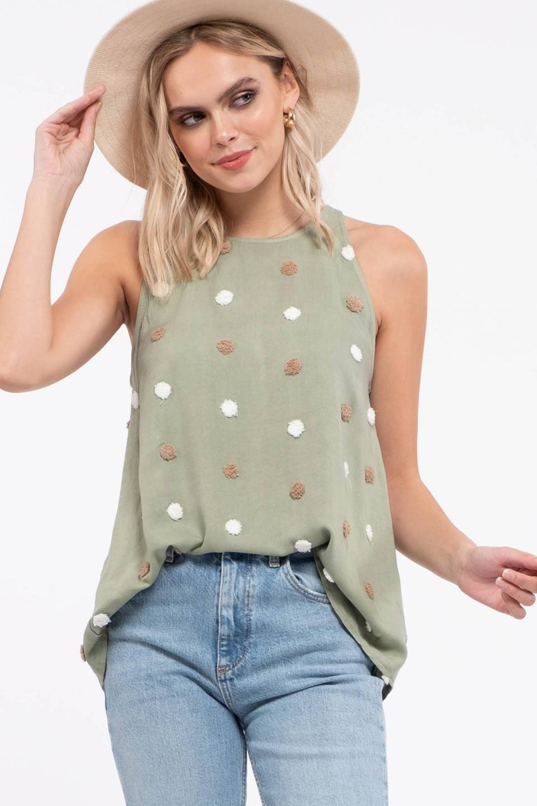 blu pepper  TWO TONE SWISS DOT TOP - Front Cropped Image