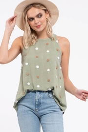 blu pepper  TWO TONE SWISS DOT TOP - Front cropped