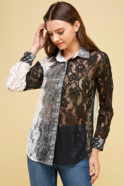 JJ'S Fairyland Two toned Lace Button Down Blouse - Product Mini Image