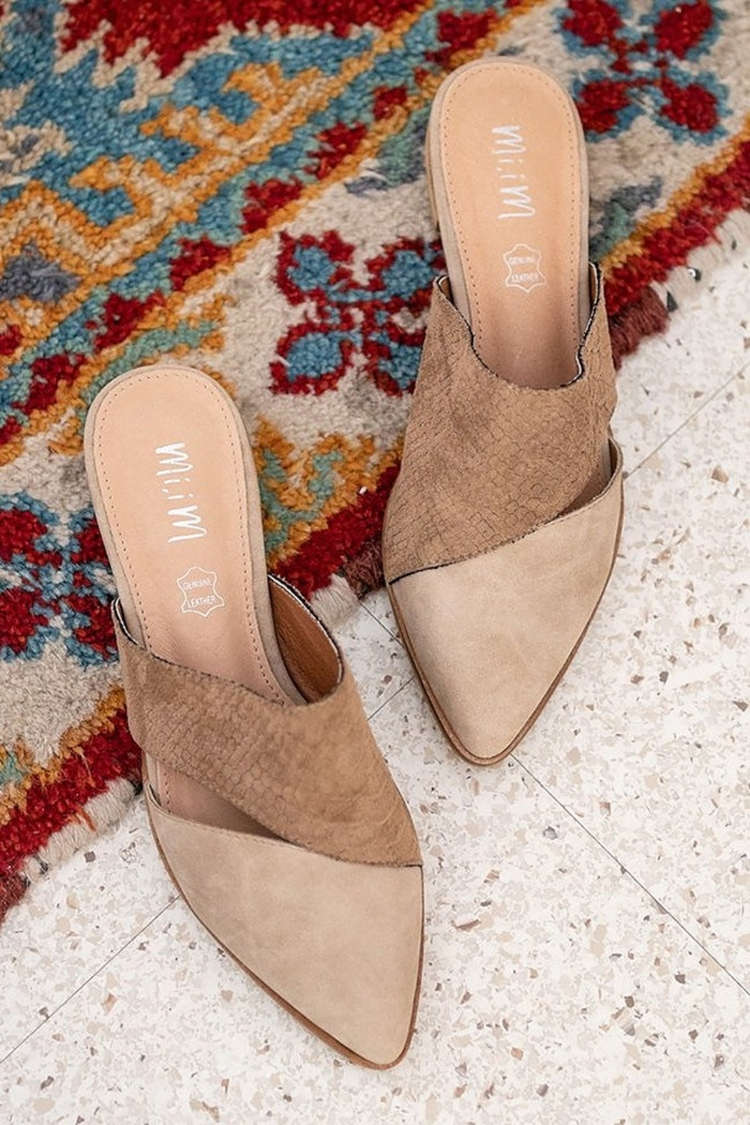 MiiM Two-Toned Pointed Mule - Front Full Image