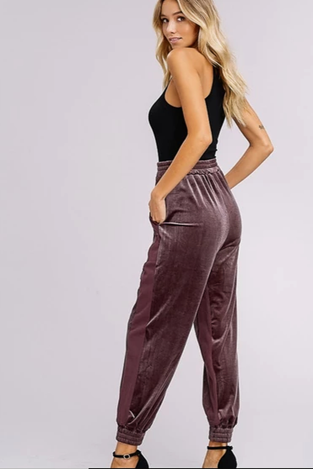 Listicle Two Toned Velvet Jogger Pants - Front Full Image