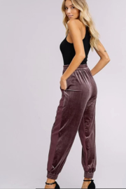 Listicle Two Toned Velvet Jogger Pants - Front full body