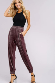 Listicle Two Toned Velvet Jogger Pants - Front cropped
