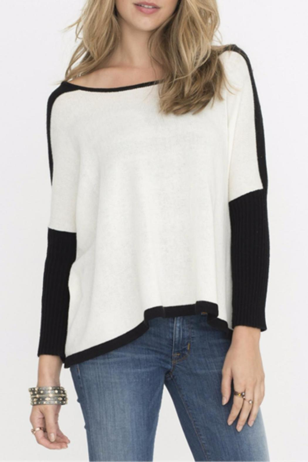 Two Chic Luxe White Colorblocked Sweater - Main Image