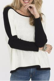 Two Chic Luxe White Colorblocked Sweater - Front full body