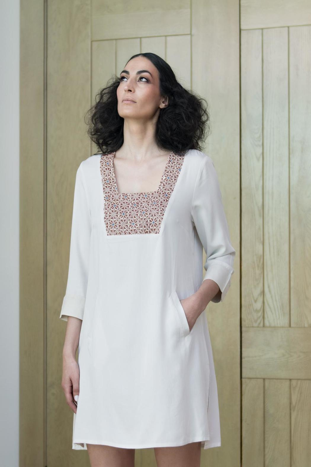 Two Neighbors Embroidered Tunic Dress - Main Image