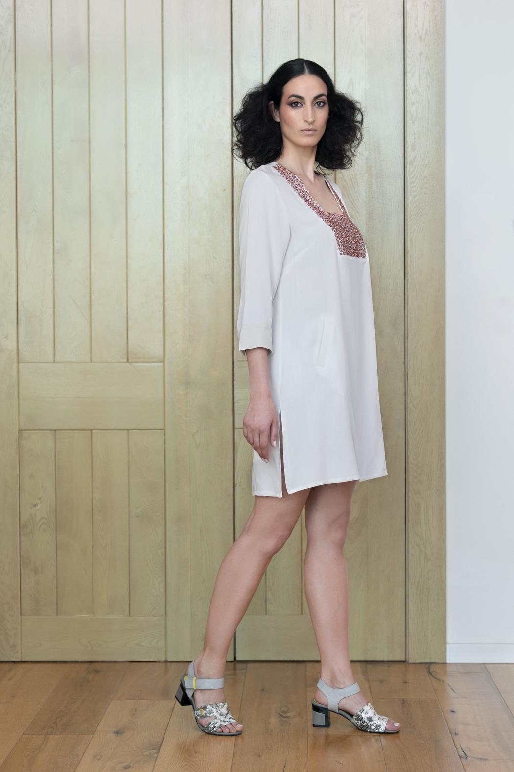 Two Neighbors Embroidered Tunic Dress - Front Full Image