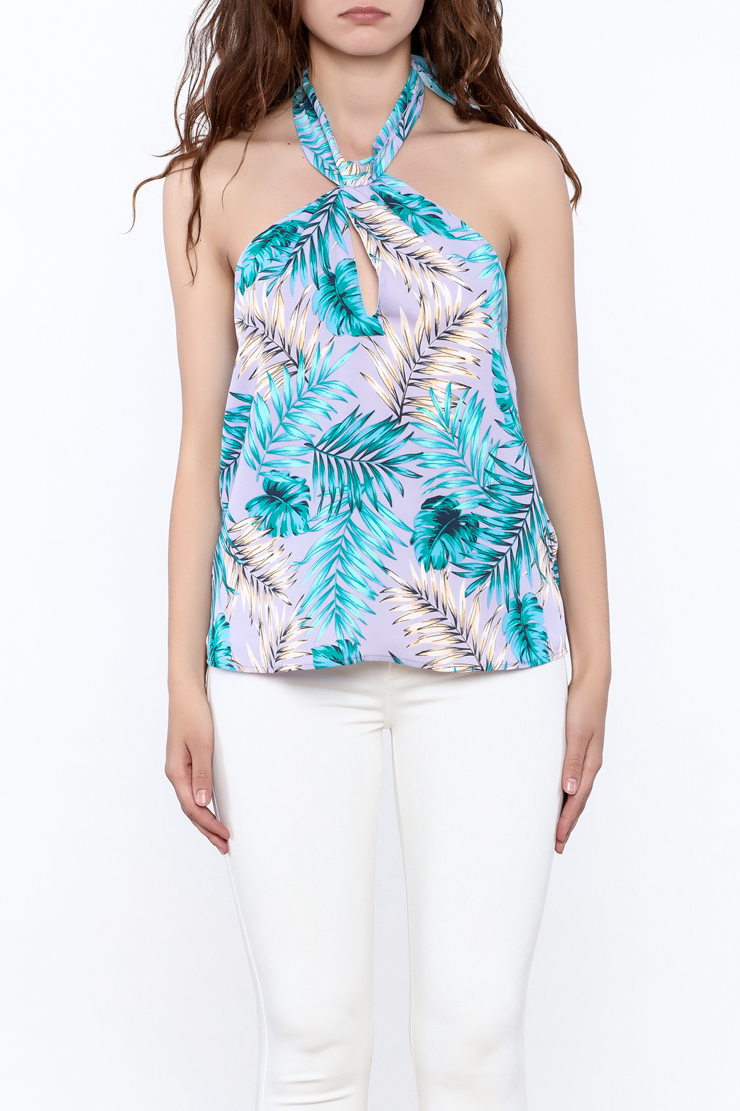 Tyche Floral Halter Blouse - Side Cropped Image