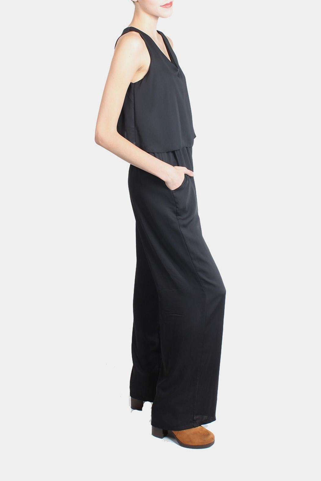 Tyche Flutter Jumpsuit In Black - Front Full Image