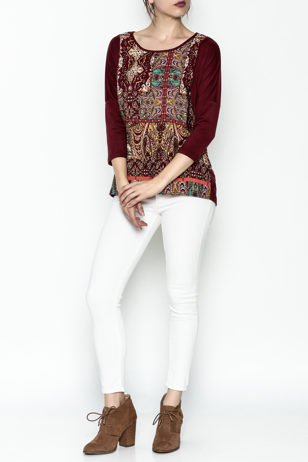 Tyche Indian Floral Top - Side Cropped Image