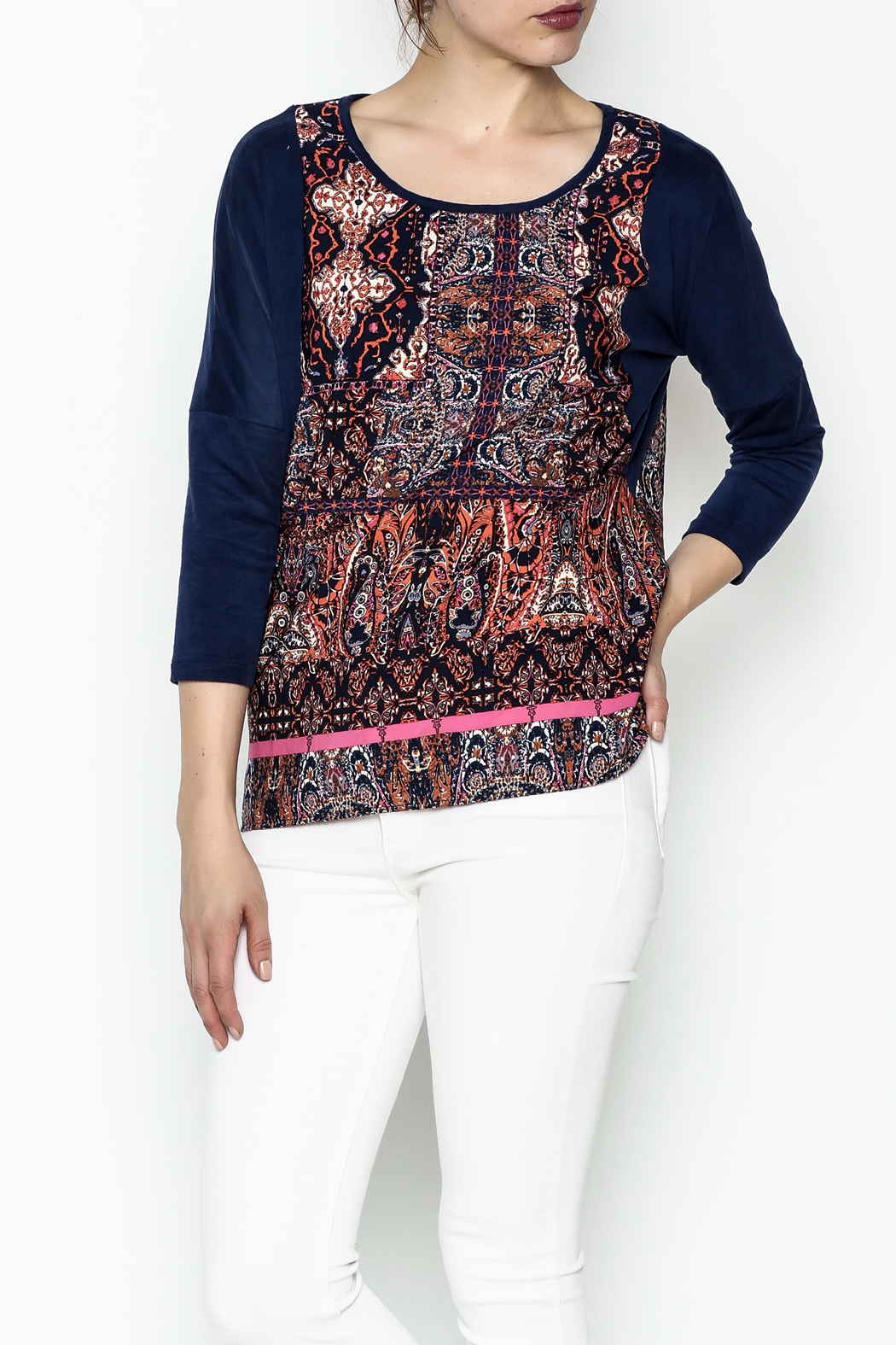 Tyche Indian Floral Top - Front Cropped Image
