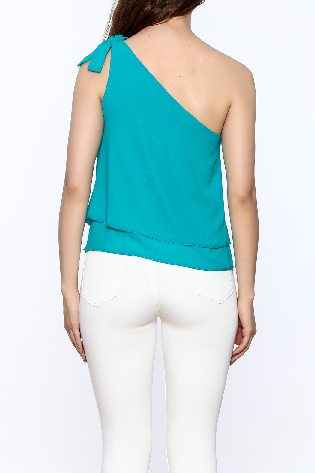 Tyche One Shoulder Top - Back Cropped Image