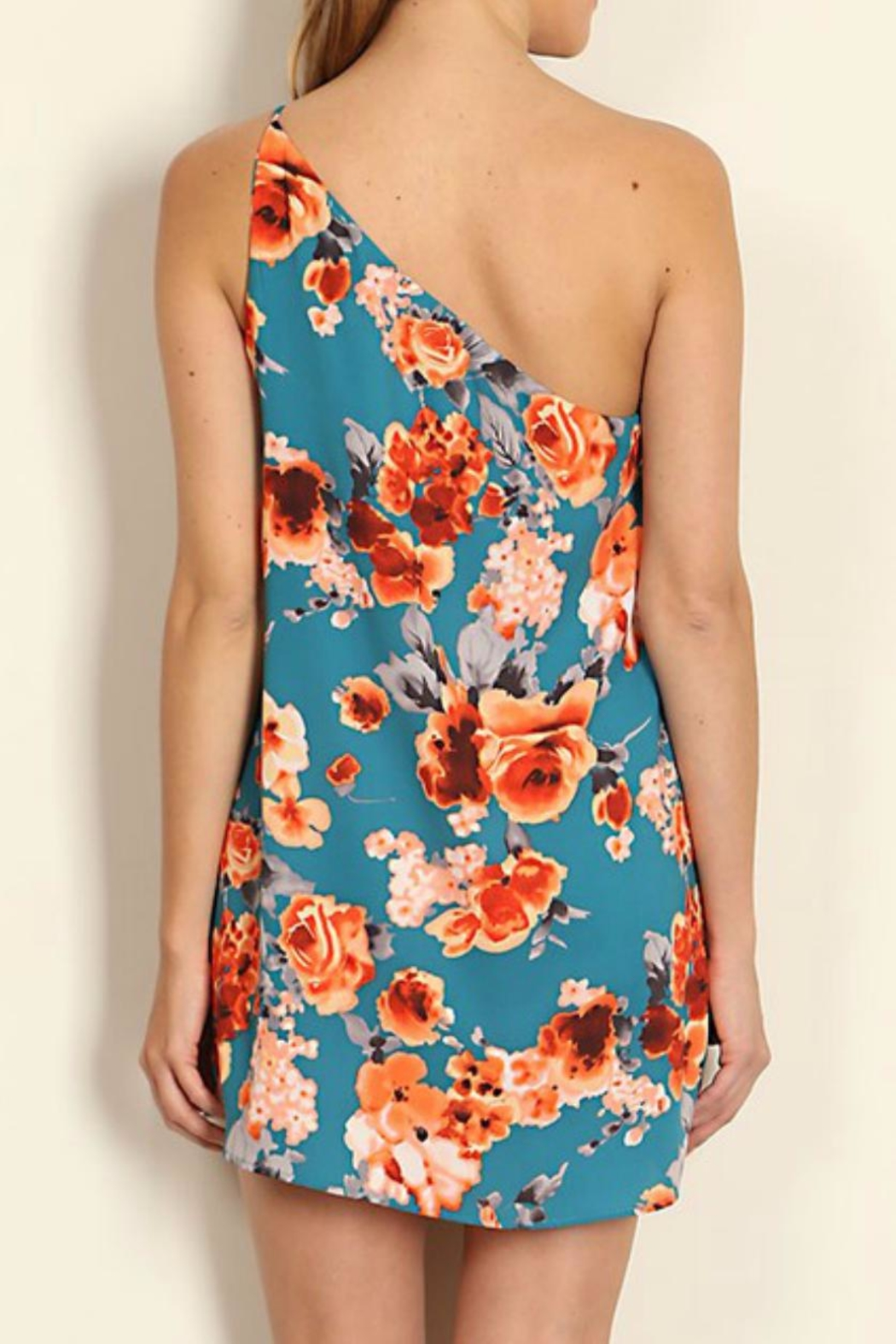 Tyche One Shoulder Floral Dress - Side Cropped Image