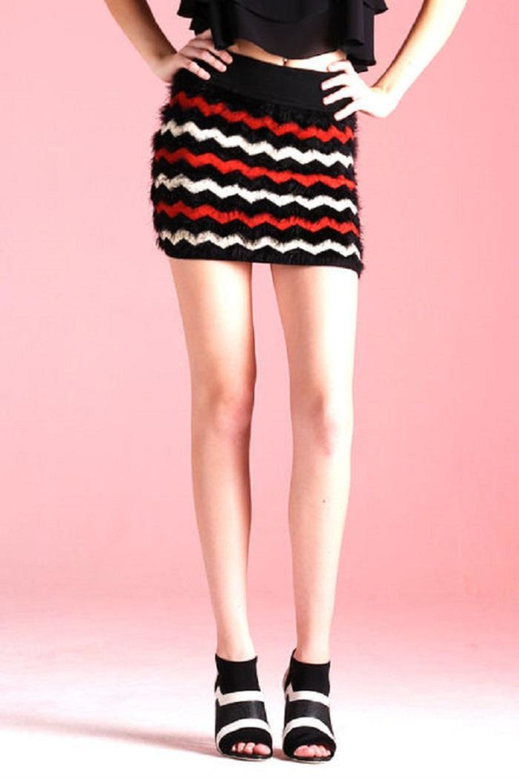 Tyche Stripe Fur Skirt - Front Cropped Image