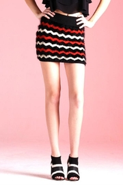 Tyche Stripe Fur Skirt - Front cropped