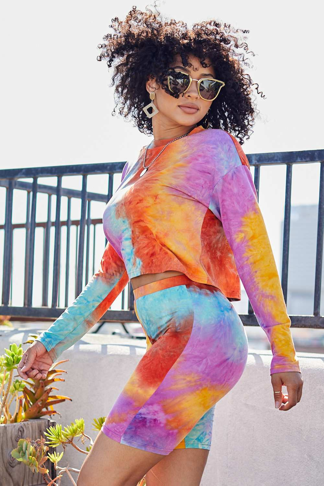 main strip  Tie Dye Biker Short Set - Front Full Image