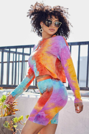 main strip  Tie Dye Biker Short Set - Front full body