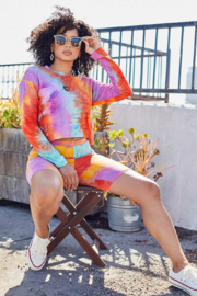 main strip  Tie Dye Biker Short Set - Front cropped