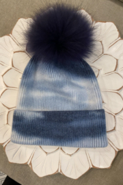 the wonder barre Tye Dye Cozy Hats with Fur Pom Poms - Product Mini Image