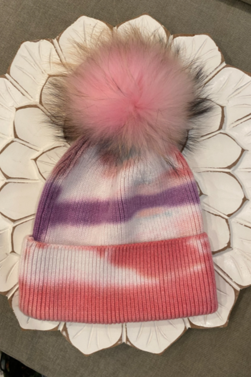 the wonder barre Tye Dye Cozy Hats with Fur Pom Poms - Front Full Image