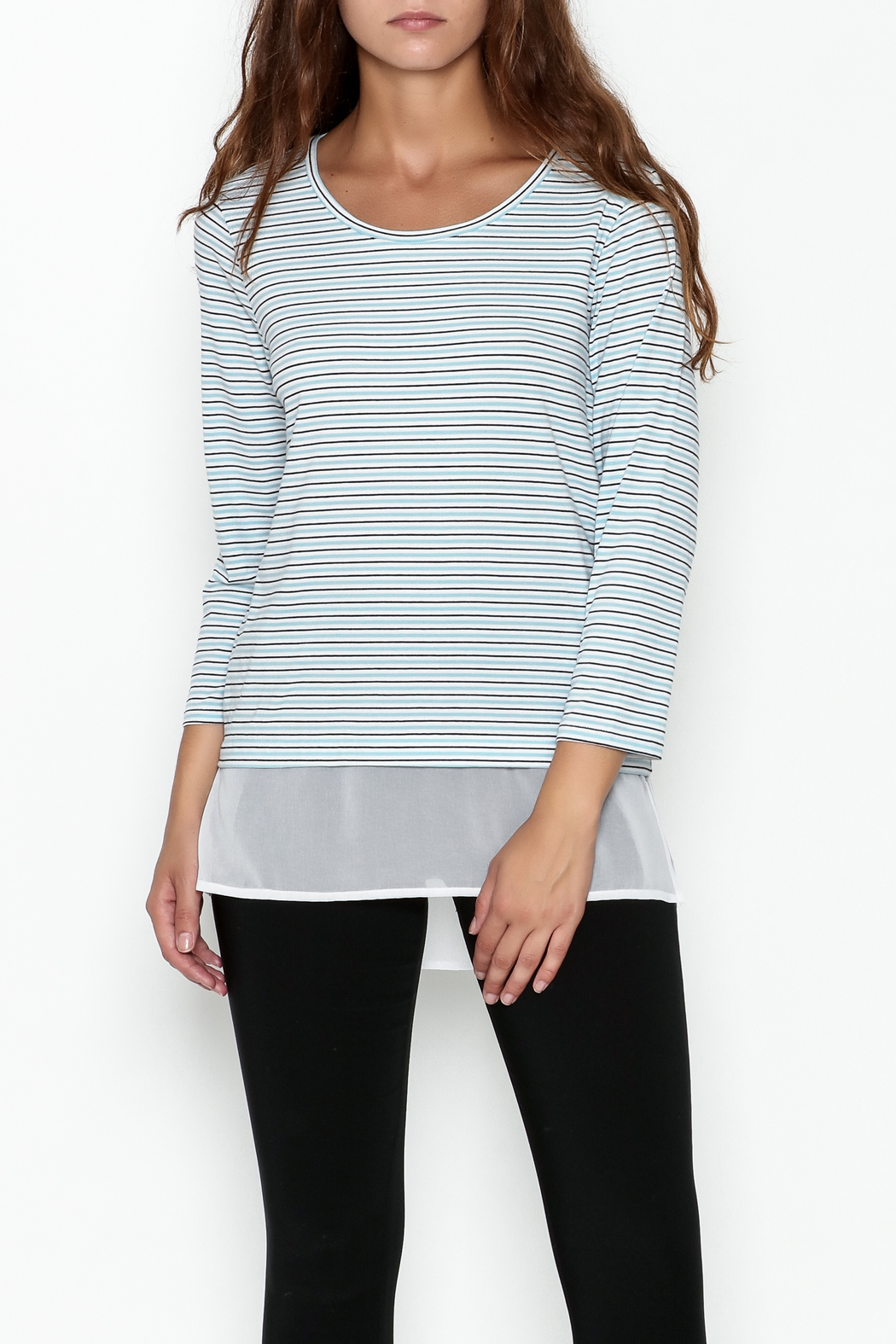 Tyler Boe Pinstripe Crew Top - Front Cropped Image