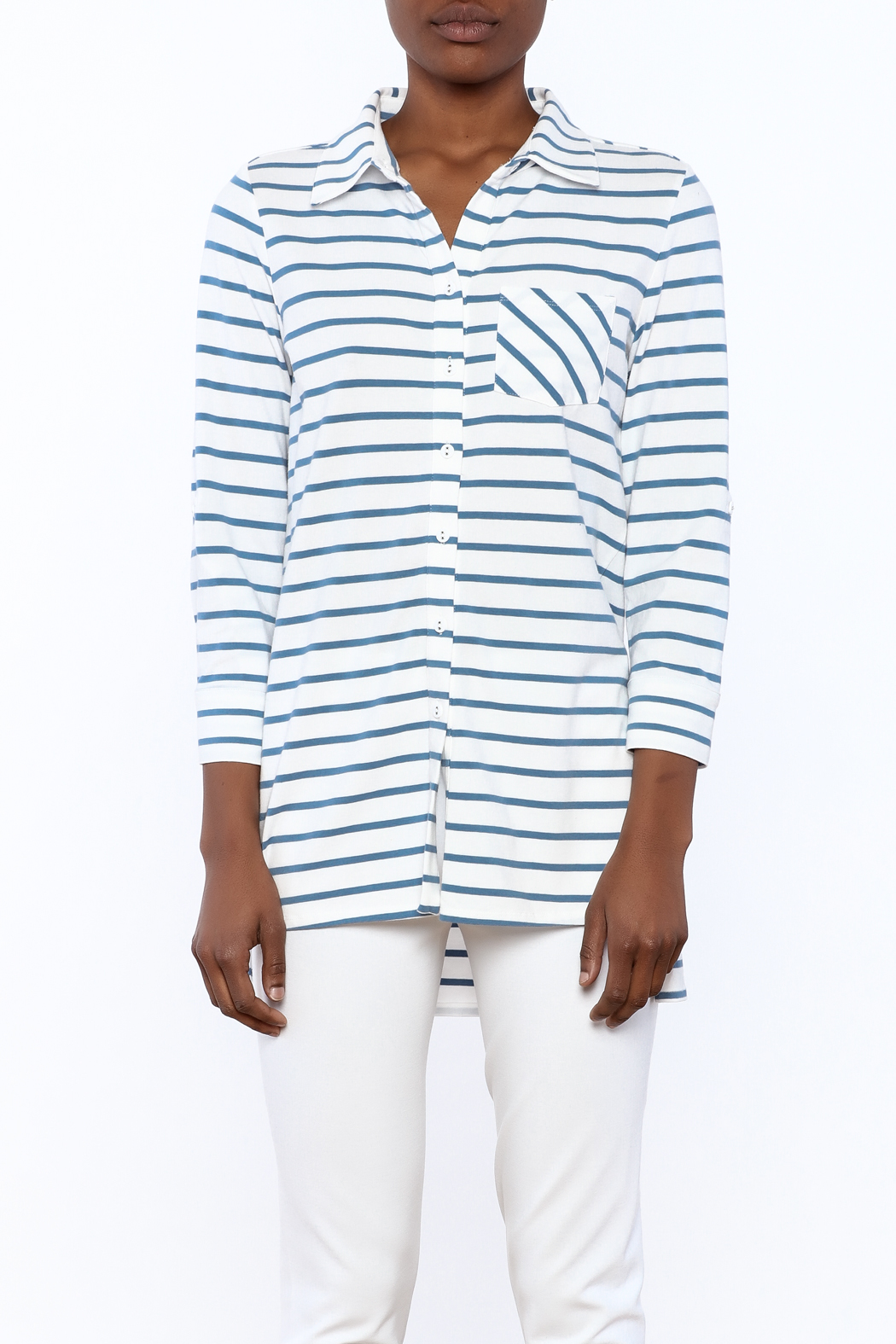 Tyler Boe Striped Button-Down Polo - Side Cropped Image