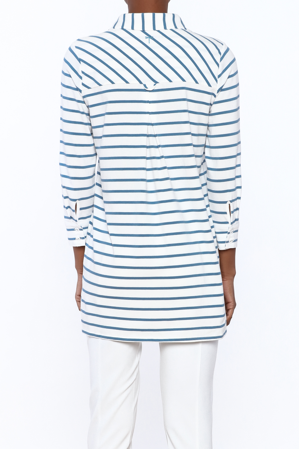 Tyler Boe Striped Button-Down Polo - Back Cropped Image