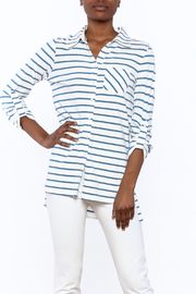 Tyler Boe Striped Button-Down Polo - Front cropped