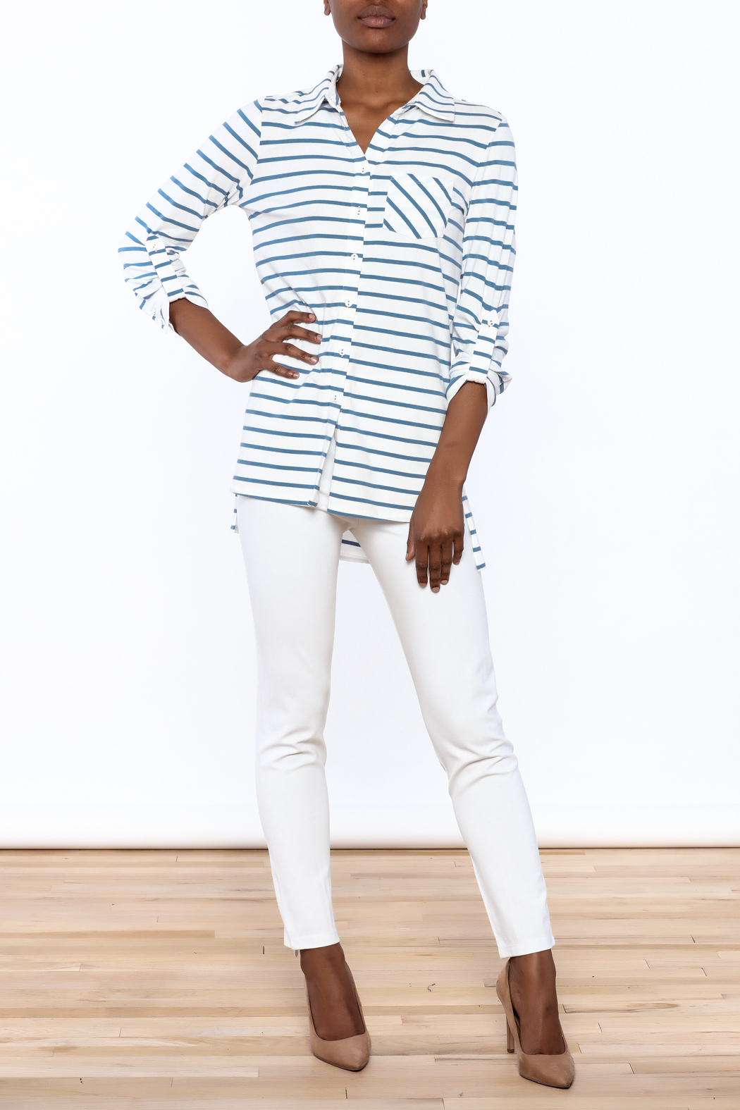 Tyler Boe Striped Button-Down Polo - Front Full Image