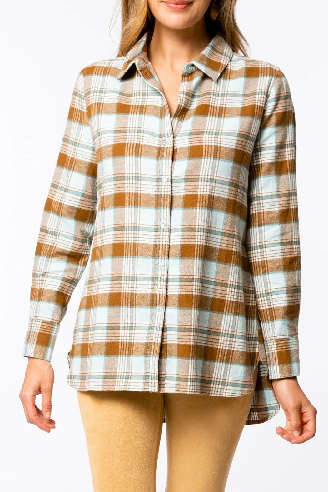 Tyler Boe Brushed Yellowstone-Plaid Shirt - Front Cropped Image