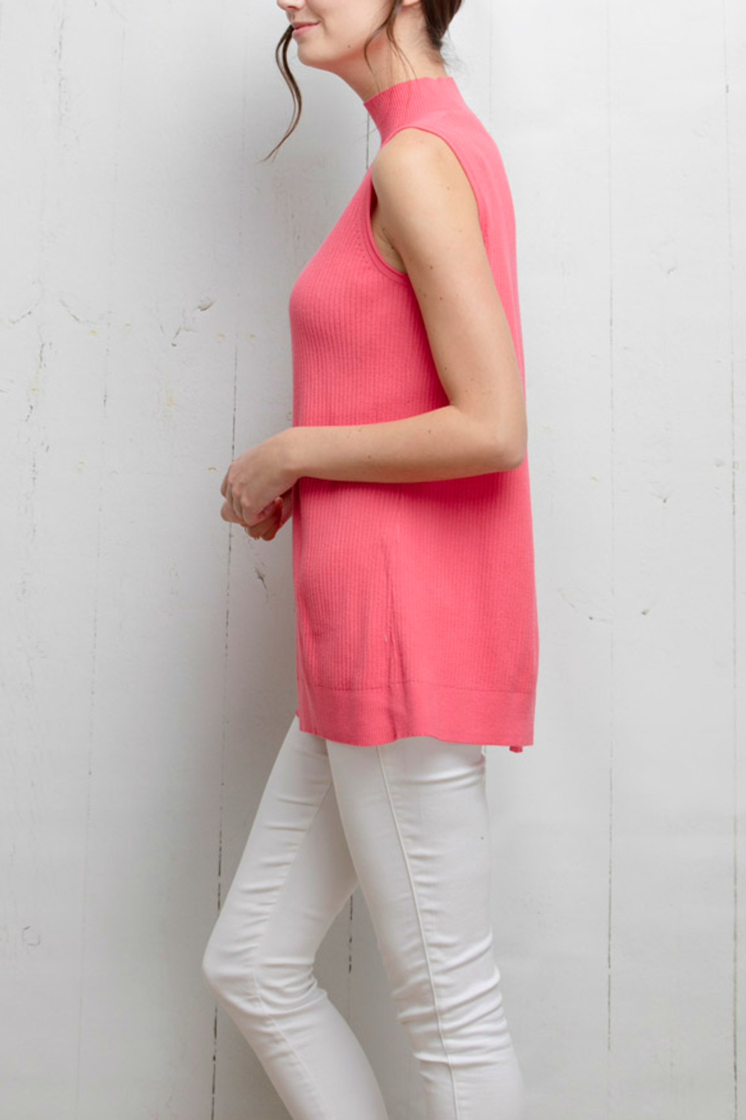 Tyler Boe Pink Sleeveless Sweater Top - Front Full Image