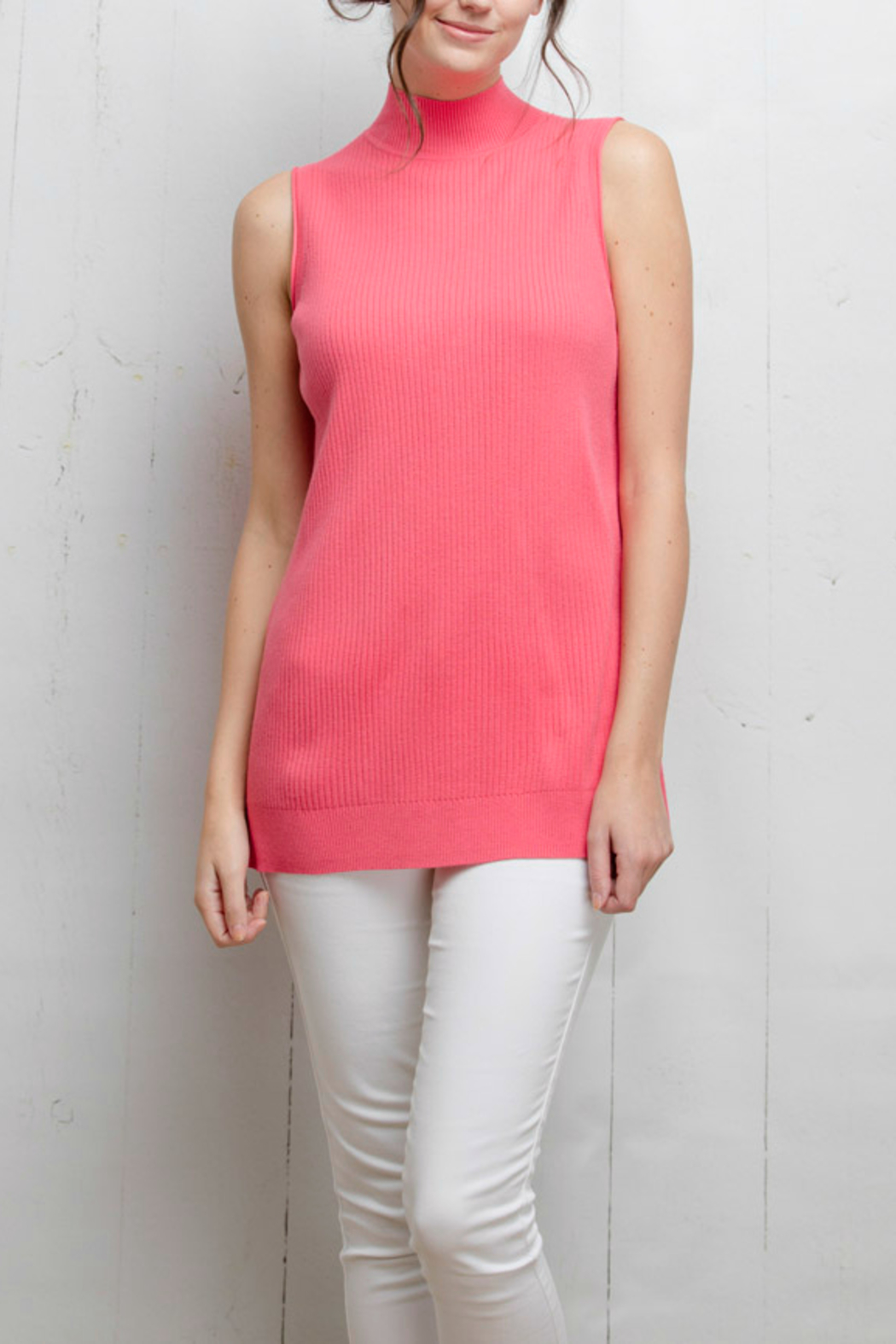 Tyler Boe Pink Sleeveless Sweater Top - Front Cropped Image
