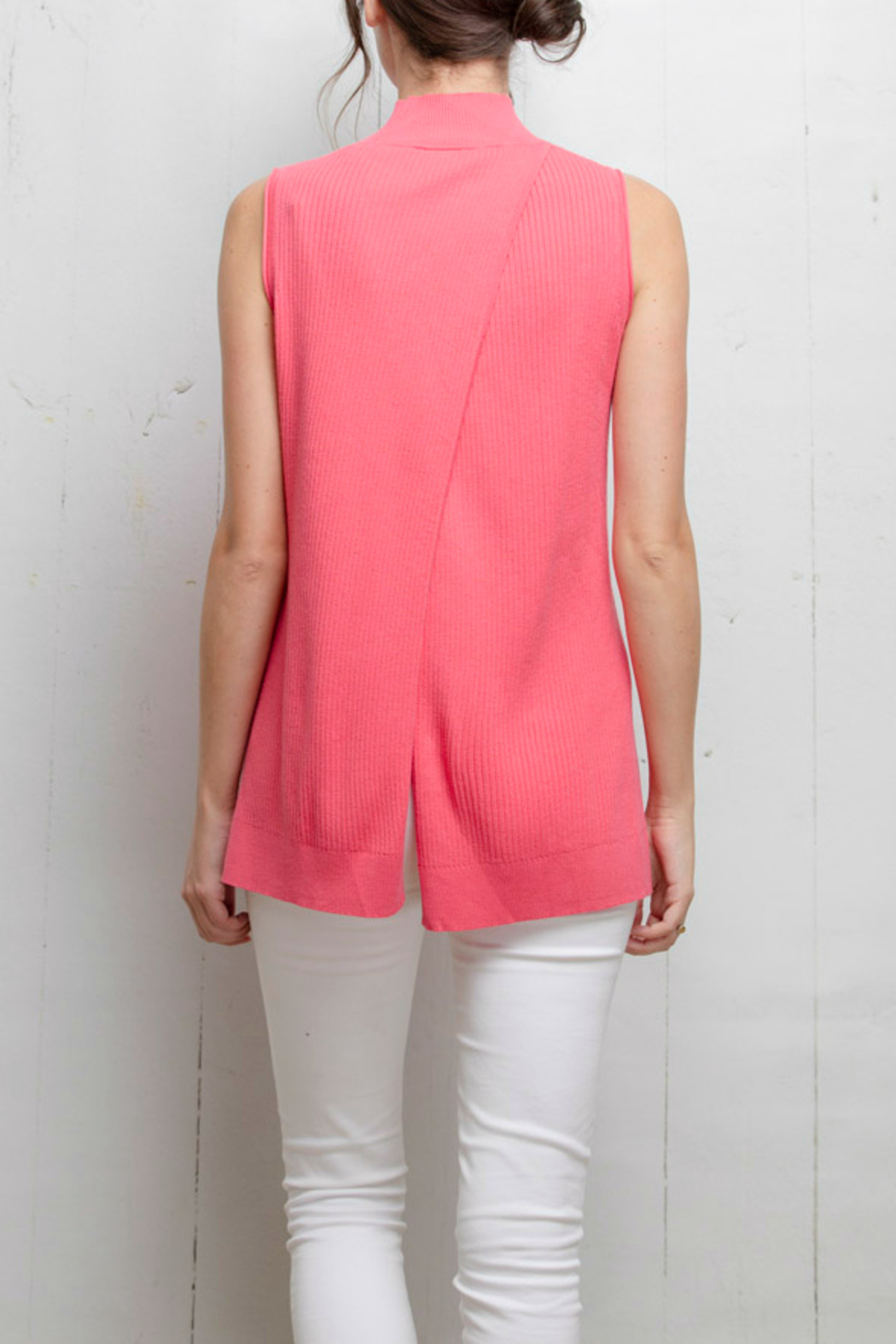 Tyler Boe Pink Sleeveless Sweater Top - Back Cropped Image