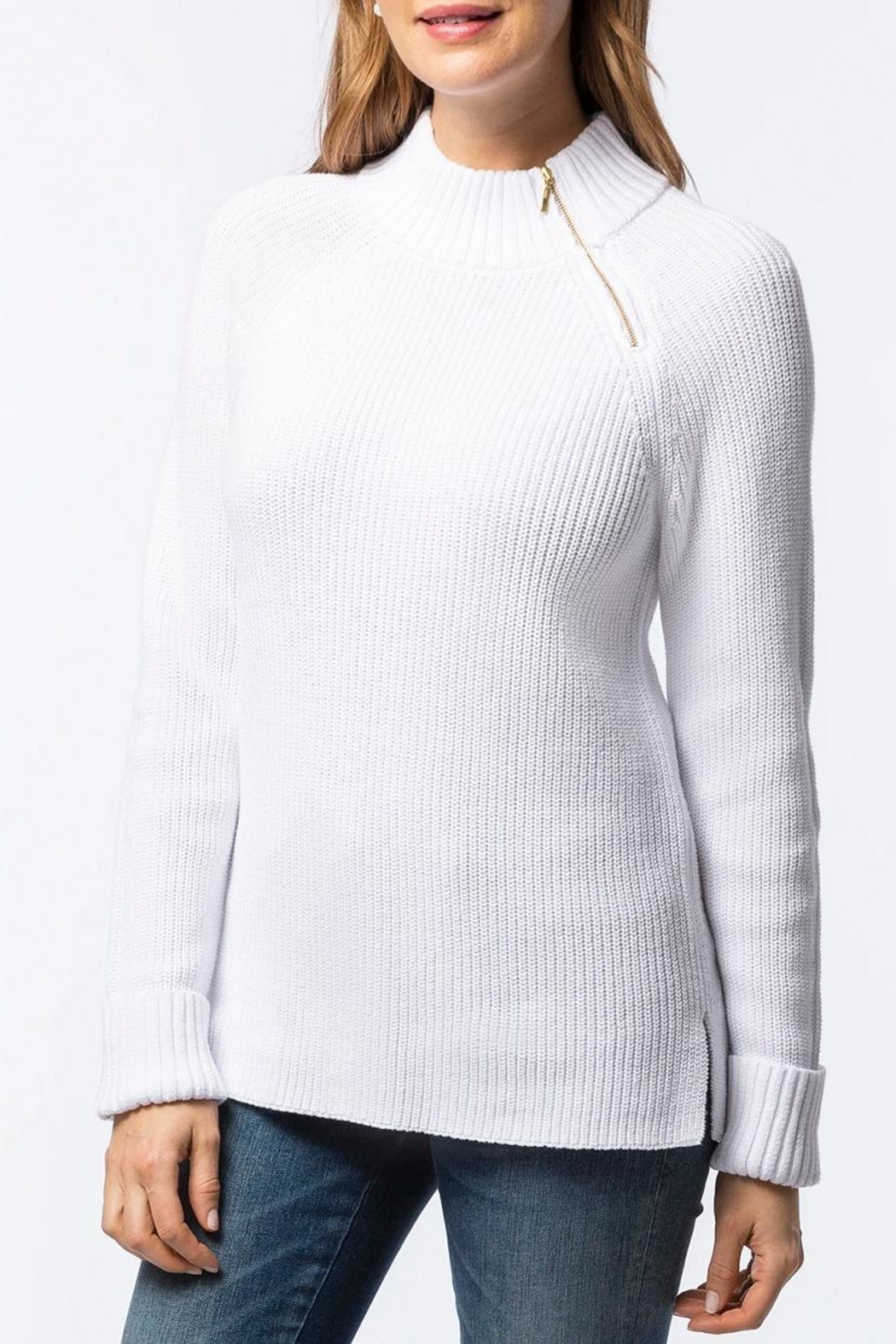 Tyler Boe Zip-Up Mock-Neck Sweater - Front Cropped Image