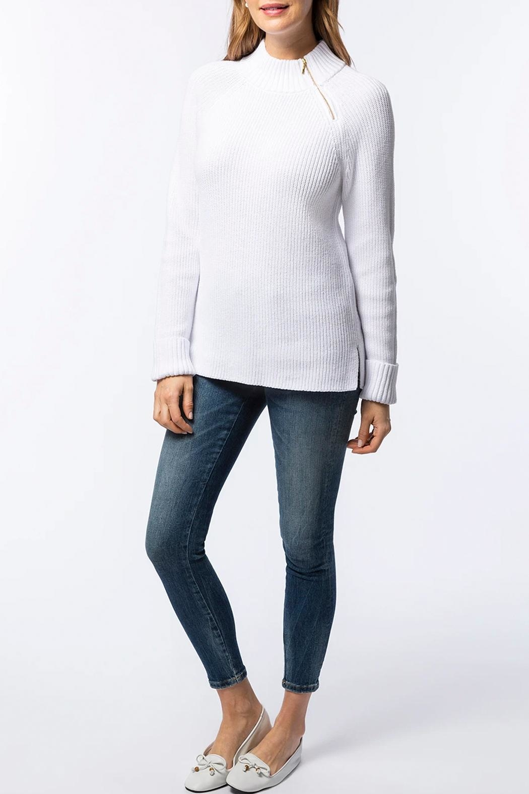 Tyler Boe Zip-Up Mock-Neck Sweater - Side Cropped Image